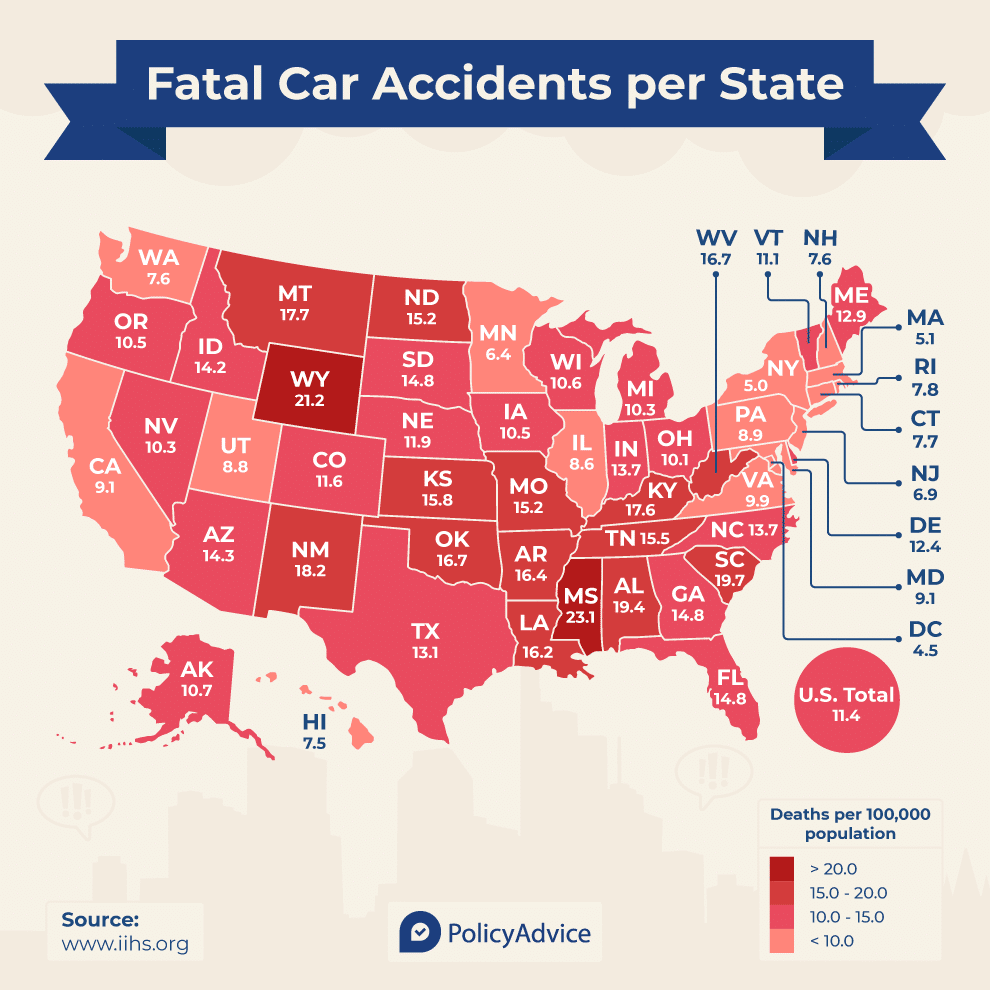 A map showing the number of car accidents fatalities by state in the USA